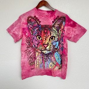 Colorful Cat, T Shirt, Acid Wash Up Cycle